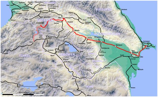 Baku-Tbilis-Kars Railway, Map: Wikipedia