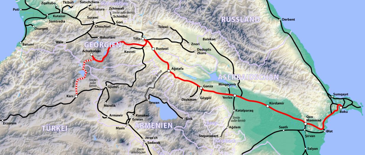 Bakü Tiflis Kars Demiryolu Haritası