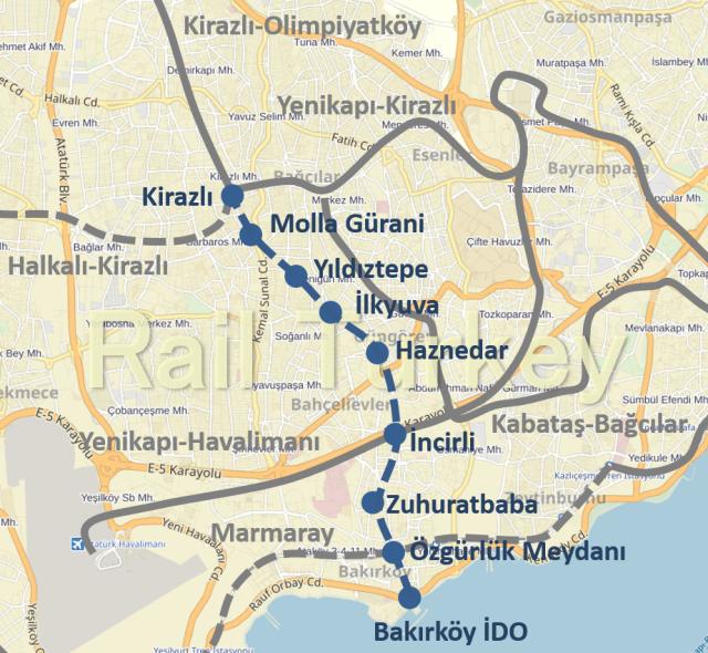 Bakirkoy Kirazli Metro Route