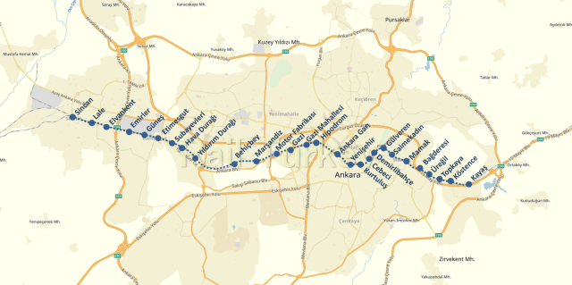 Baskentray Project Route