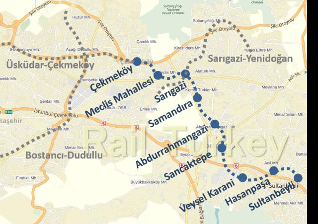 Cekmekoy Sultanbeyli Metro Route