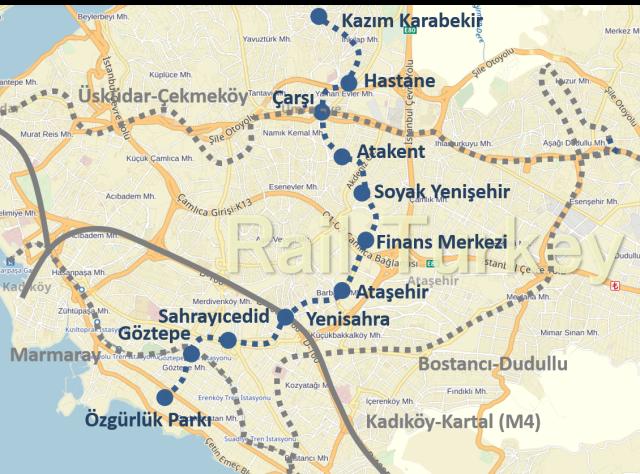 Goztepe Umraniye Metro Route