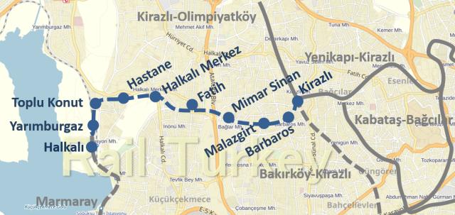 Halkali Kirazli Metro Route