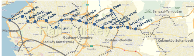 Üsküdar Çekmeköy Metro Güzergahı
