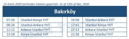 Bakırköy tren istasyonu tren saatleri
