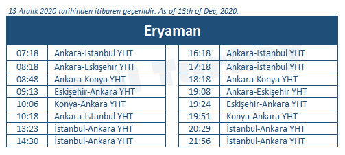 Eryaman high speed train station timetable