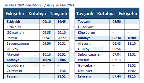 Eskisehir Kutahya train timetable
