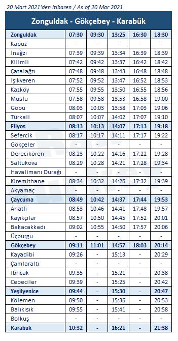 Zonguldak Gokcebey train timetable