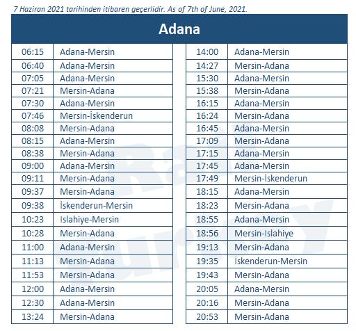 Adana tren garı tren saatleri