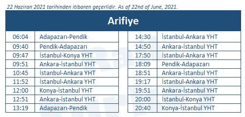 Arifiye hızlı tren garı tren saatleri