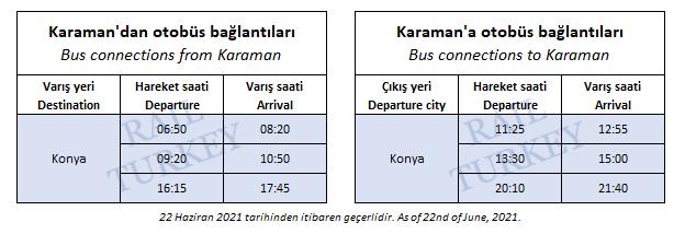 Karaman tren garı bağlantılı otobüs saatleri