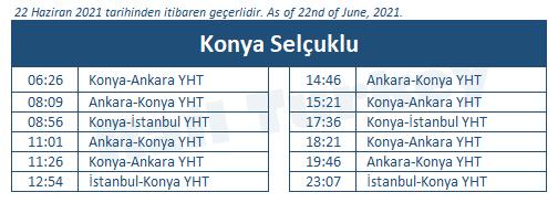 Konya Selçuklu YHT garı tren saatleri
