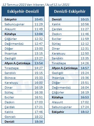 Pamukkale Ekspresi saatleri